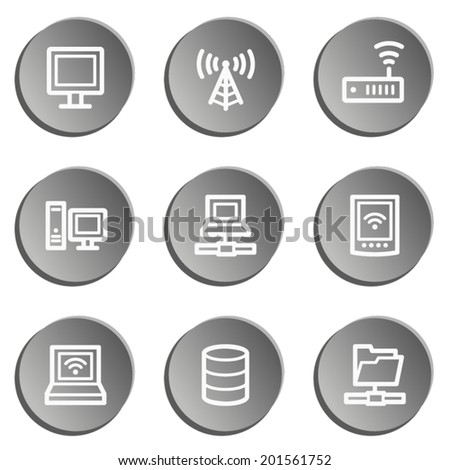 Network web icons , grey stickers set - stock vector