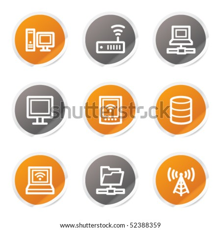 Network web icons, orange and grey stickers - stock vector