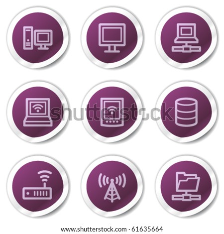 Network web icons, purple stickers series - stock vector