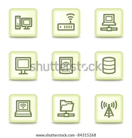 Network web icons, salad green buttons - stock vector