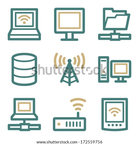 Network web icons, two color series - stock vector