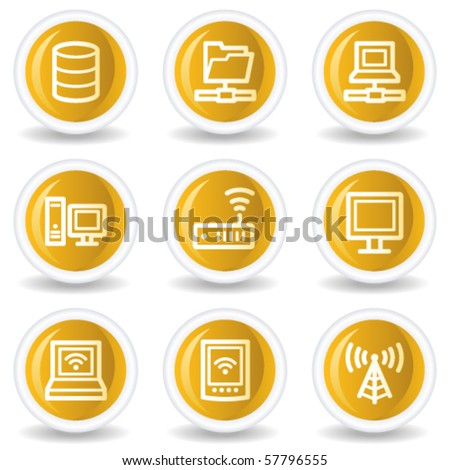 Network web icons, yellow glossy circle buttons - stock vector