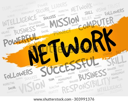 NETWORK word cloud, business concept - stock vector