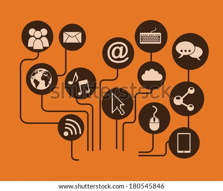 networking design over orange background vector illustration