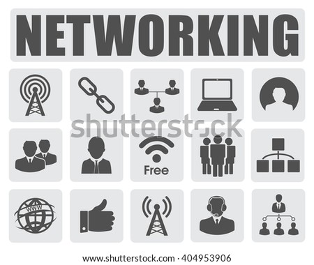 networking icons set - stock vector