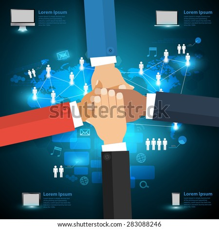 Networking technology concept, With business team showing unity with their hands together, Infographic layout, diagram, step up options, Vector illustration modern design template - stock vector