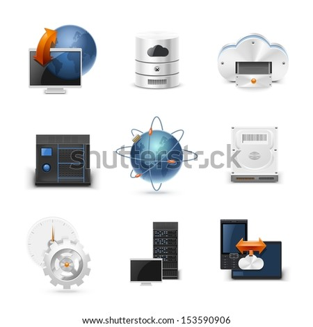 networking vector icon set - stock vector