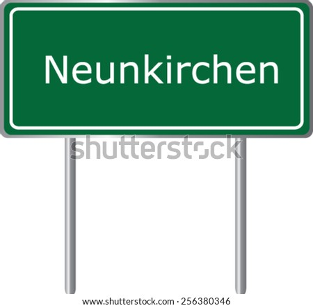 Neunkirchen, Austria, road sign green vector illustration, road table - stock vector