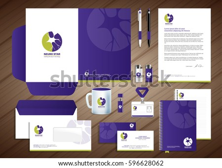 Neurology Star Logo, blue, violet corporate identity template design, stationery green