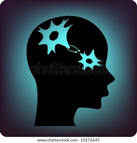 neuron in a brain - stock vector