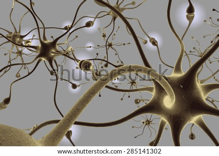 Neurons, transferring pulses and generating information, vector illustration EPS 8. - stock vector