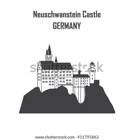 Neuschwanstein Castle, Flat, Building Exterior vector illustration EPS 10. - stock vector