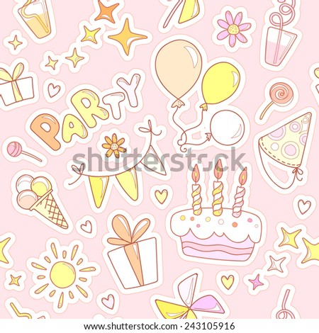 Neutral colorful cheerful cute seamless pattern on the theme of children's parties. Balloons, cake with candles, ice cream, sweets, gifts, flowers, hearts, sparkles, cups on a pale pink background. - stock vector