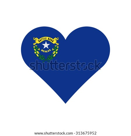 Nevada flag heart . Love to country and state. Vector illustration EPS8