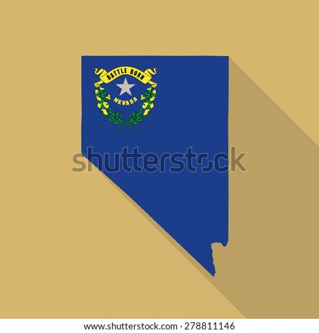 Nevada flag,map flat icon with long shadow. Vector EPS10