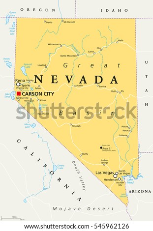 Nevada Political Map With Capital Carson City State In The Western Mountain West And