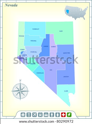 Nevada State Map with Community Assistance and Activates Icons Original Illustration - stock vector