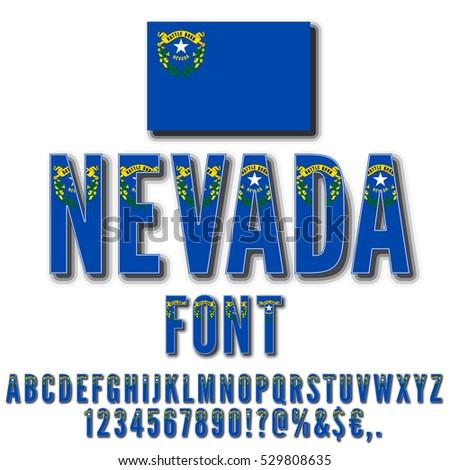 Nevada Usa State Flag Font Alphabet Stock Vector 529808635