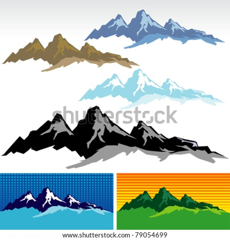 New ! Amazing Mountain And Hills SYMBOLS - stock vector