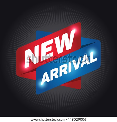 NEW ARRIVAL arrow tag sign icon. Special offer label. Black background. - stock vector