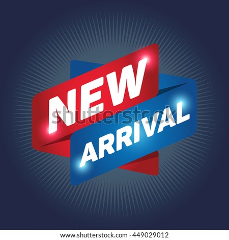 NEW ARRIVAL arrow tag sign icon. Special offer label. Navy background. - stock vector