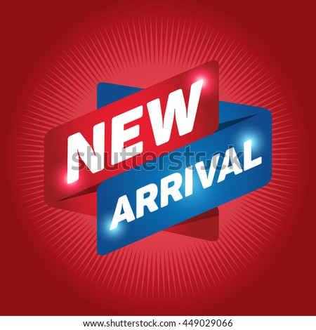 NEW ARRIVAL arrow tag sign icon. Special offer label. Red background. - stock vector