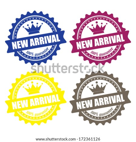 New arrival guaranteed label, sign, stamp and sticker. Vector - stock vector