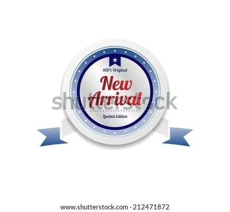 new arrival product sale and quality label sticker - stock vector