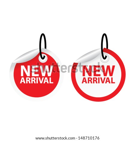 New arrival red tags. Vector.  - stock vector