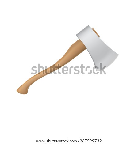 New ax with a shining blade and a wooden handle - stock vector