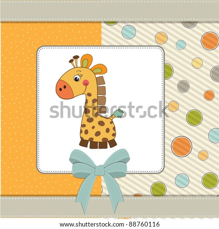 new baby  announcement card with giraffe - stock vector