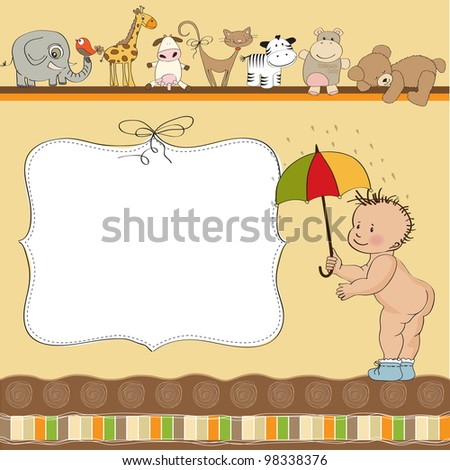 new baby announcement card with little naked boy - stock vector