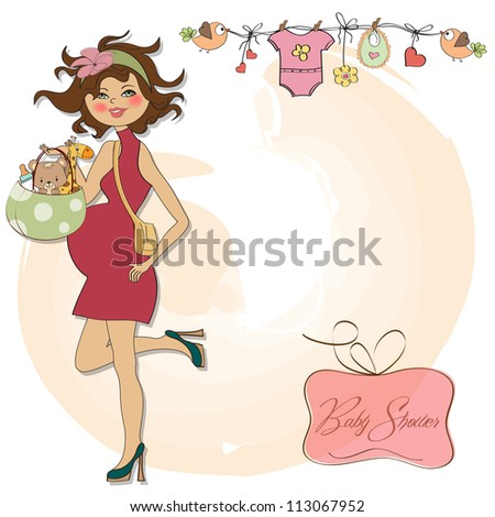 new baby announcement card with pregnant woman - stock vector