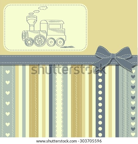 new baby  announcement card with retro toy, vector illustration - stock vector