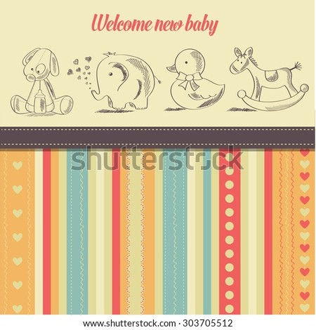 new baby  announcement card with retro toys, vector illustration - stock vector