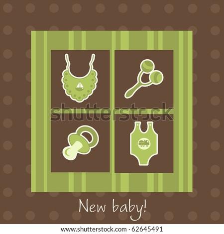 New baby arrival card, vector - stock vector