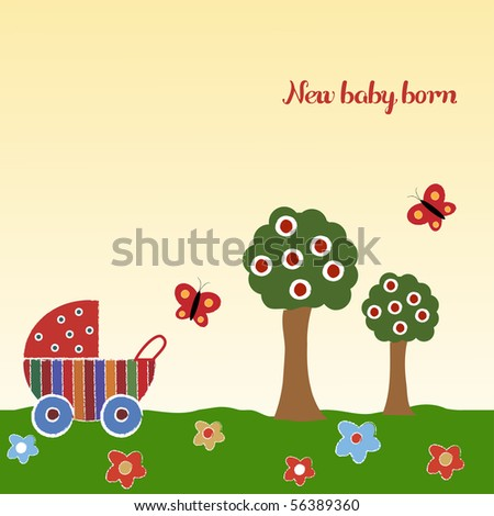 new baby born - stock vector