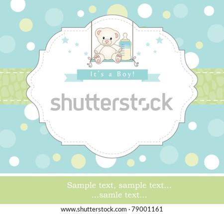 New baby boy shower invitation - stock vector