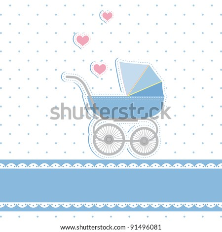 New baby boy shower invitation card - stock vector