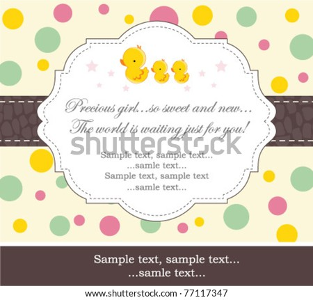 New baby girl shower invitation - stock vector