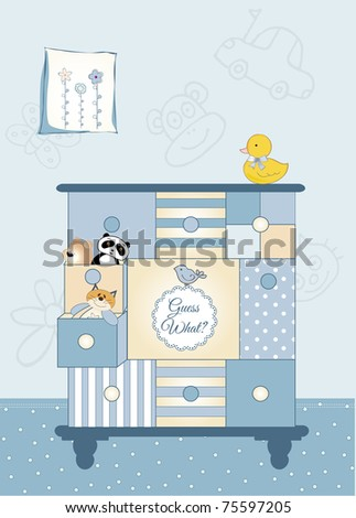 new baby greeting card with nice closed - stock vector