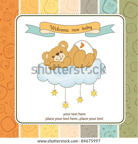 New baby shower card with spoiled teddy bear - stock vector