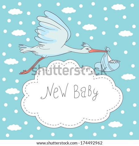 new baby, stork flying with baby - stock vector