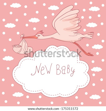 new baby, stork flying with baby girl - stock vector