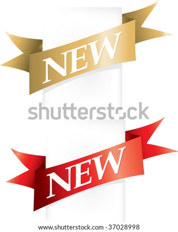 NEW banner ribbon flashes - stock vector