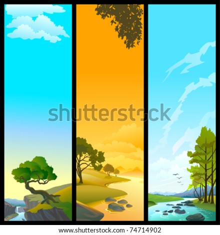 NEW BANNERS  - SET OF 3 NATURE   THEMES - RIVER, TREE AND  SKY - stock vector