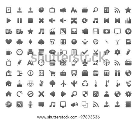 New beautiful 120 icons for your application. - stock vector