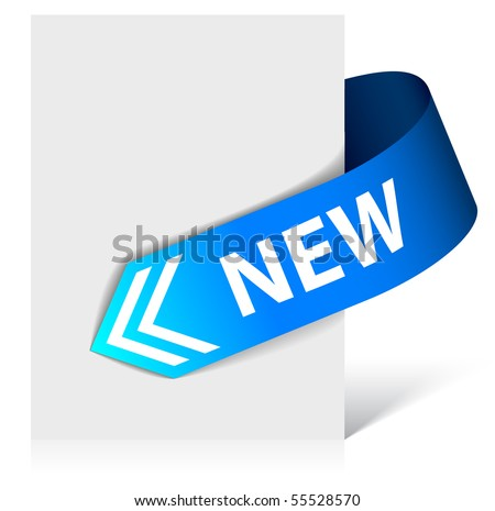 New blue corner ribbon - arrow pointing at the content (vector) - stock vector