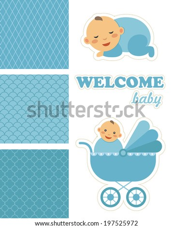 new born babies and patterns set design. vector illustration - stock vector