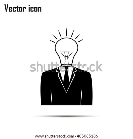 New bright idea form human head, thinking about success solution, lightbulb as creativity metaphor. vector illustration. - stock vector